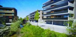 Die PEB-MFH-Überbauung Zentrum Tobel an der Käsereistrasse besteht aus drei MFH mit 32 Minergie-P-Wohnungen mit eleganten PV-Balkonen (Okt. 2018 vor Fertigstellung).